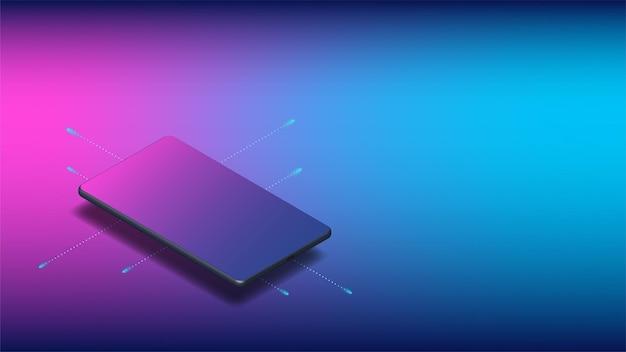 Realistische isometrische mobiele telefoon met kopieerruimte voor presentatie van ui, ux, app. voor banners, mockups en websitesjablonen. vector illustratie.