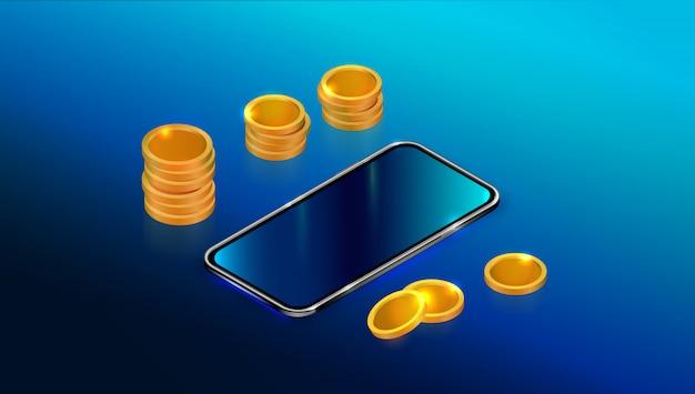 Realistische isometrische zwarte smartphone met lege touchscreen en munten stapel.