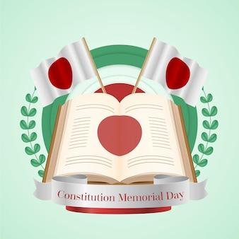 Realistische japanse grondwet herdenkingsdag illustratie