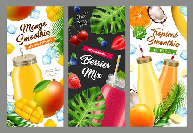 Realistische jar-cocktail-smoothie-banners instellen ¡