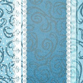 Realistische jeans structuurpatroon en kant