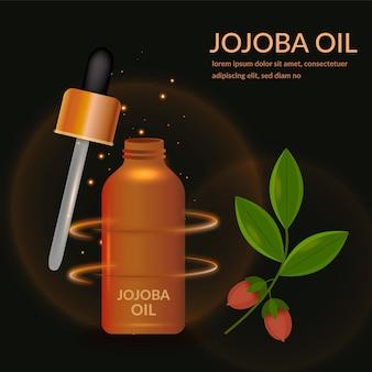 Realistische jojoba-olie-advertentie