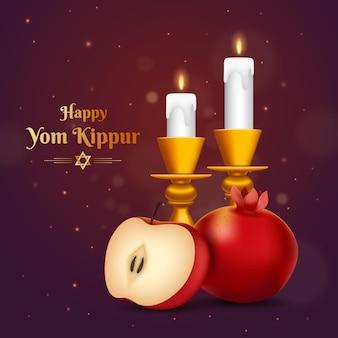 Realistische jom kipoer-achtergrond met kaarsen en fruit