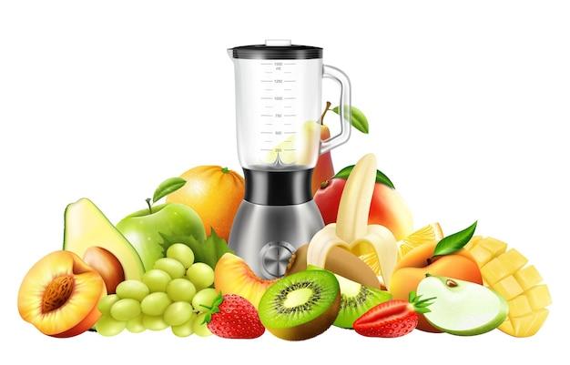 Realistische juicer-blender. keukenblender met reeks vruchten, bananen, sinaasappelen, kiwi, perzik, druiven, aardbei, appel, mango, peer, avocado, geïsoleerde vectorillustratie