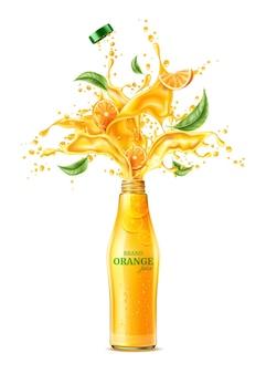Realistische jus d'orange plons met muntblaadjes spatten sap beweging met groene bladeren vector