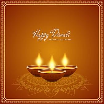 Realistische kaarsen gelukkige diwali-achtergrond