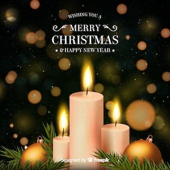 Realistische kaarsen kerstmis achtergrond
