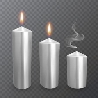 Realistische kaarsen van witte kleur, brandende en gedoofde kaarsen
