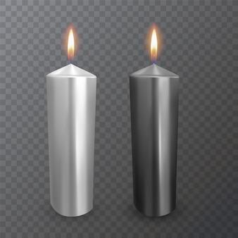 Realistische kaarsen van zwarte en witte kleuren, brandende kaarsen