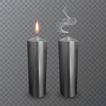Realistische kaarsen van zwarte kleur, brandende en gedoofde kaarsen
