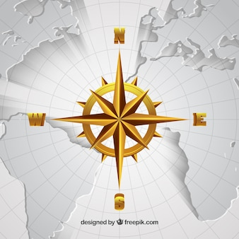 Realistische kaart kompas achtergrond