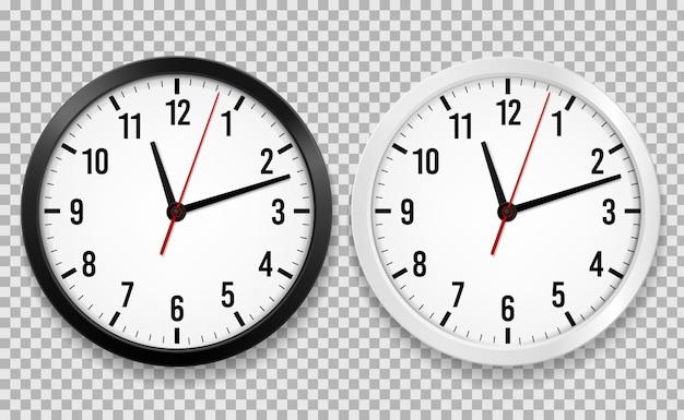 Realistische kantoorklok. muur ronde horloges met tijdpijlen en wijzerplaat geïsoleerde 3d vector zwart-witte klokken