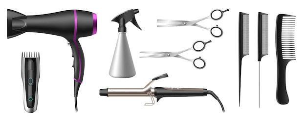 Realistische kapsalon of kapperszaak tools set. 3d professionele kapselaccessoires. schaar, haardroger, elektrisch scheerapparaat, krultang, tondeuses en kammen. 3d vectorillustratie