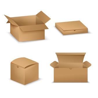 Realistische kartonnen dozenverzameling