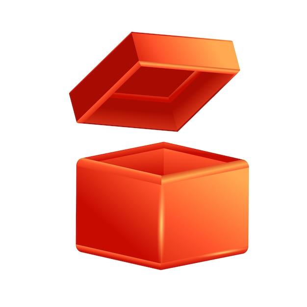 Realistische kartonnen open doos, zijaanzicht, set van realistische 3d-geschenkdozen.