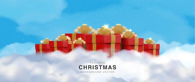 Realistische kerst achtergrond en gelukkig nieuwjaar
