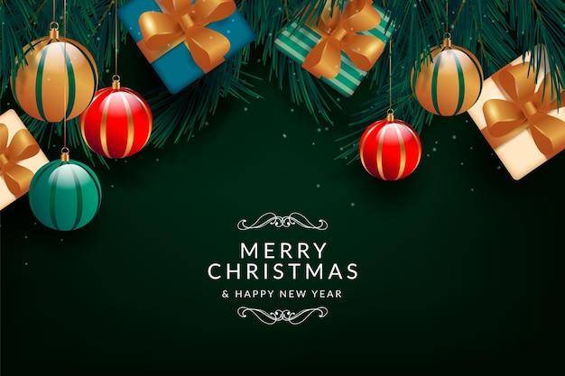 Realistische kerst achtergrond met geschenken Gratis Vector