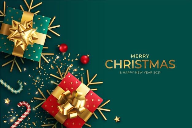 Realistische kerst achtergrond met rode en groene cadeautjes