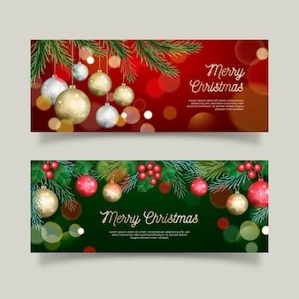Realistische kerst banners set