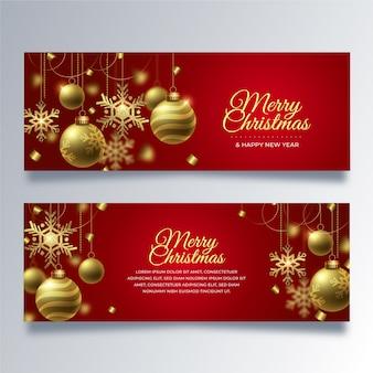 Realistische kerst banners sjabloon