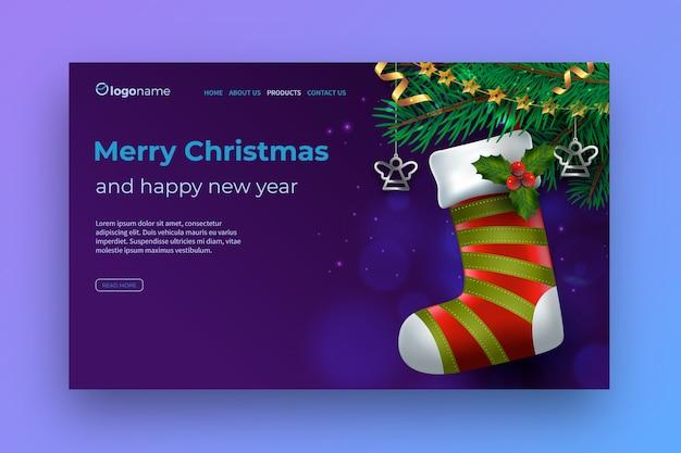 Realistische kerst bestemmingspagina sjabloon
