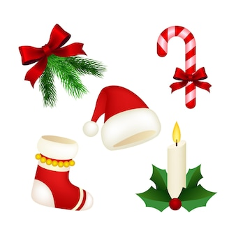 Realistische kerst element collectie