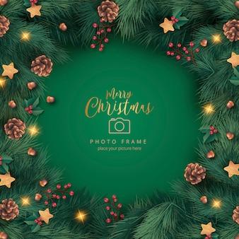 Realistische kerst fotolijst met ornamenten