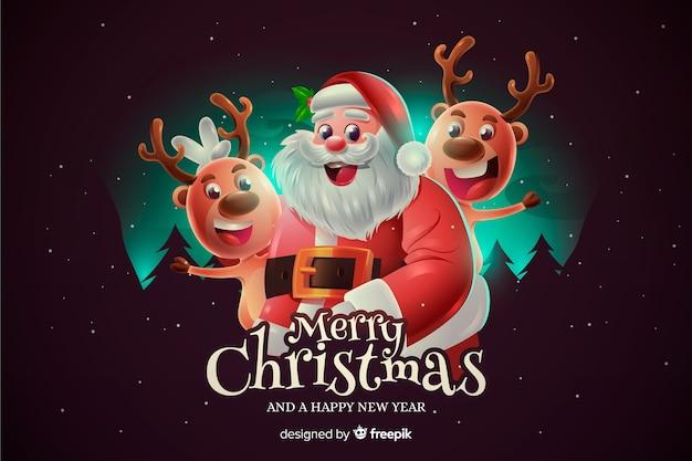 Realistische kerst santa achtergrond
