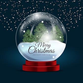 Realistische kerst sneeuwbal globe