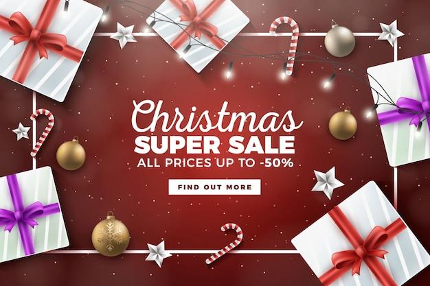 Realistische kerst top view achtergrond met cadeautjes en decoraties