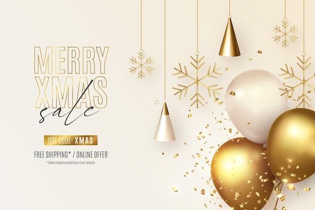 Realistische kerst verkoop banner met ornamenten en ballonnen