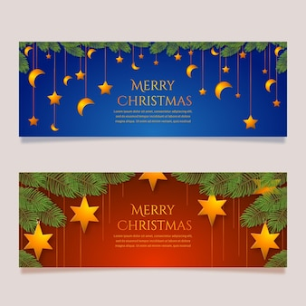 Realistische kerst verkoop banners sjabloon