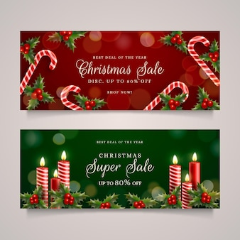 Realistische kerst verkoop banners