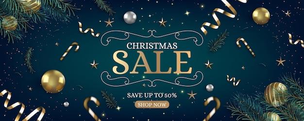 Realistische kerst verkoop sjabloon