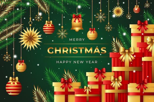 Realistische kerstachtergrond met cadeautjes