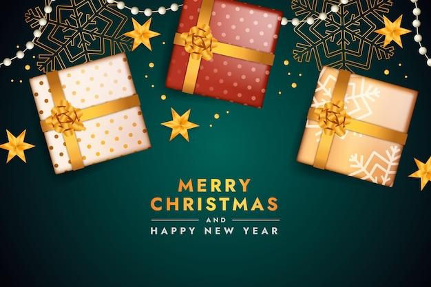 Realistische kerstachtergrond met geschenken