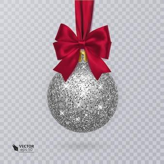 Realistische kerstbal met rood lint en decoratie van zilveren glitter
