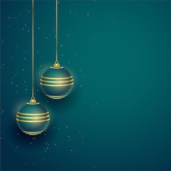 Realistische kerstbal met tekst ruimte achtergrond