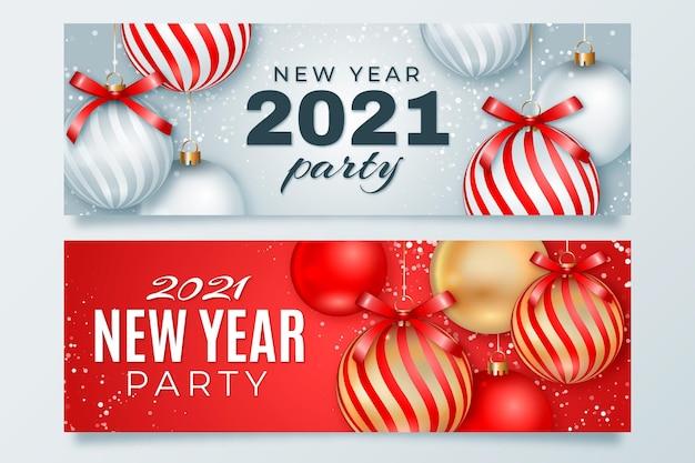 Realistische kerstballen nieuwe jaar 2021 banner