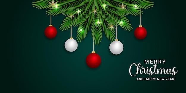 Realistische kerstbanner rode en witte bal gouden sneeuwvlokken kerstverlichting
