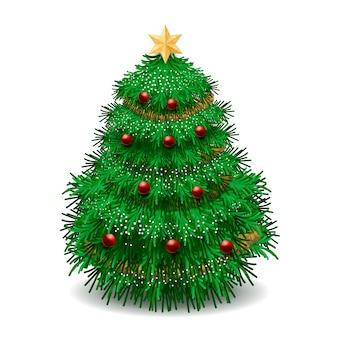 Realistische kerstboom en kerstballen