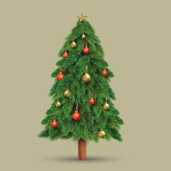 Realistische kerstboom sjabloon