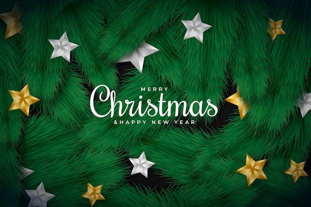Realistische kerstboom takken behang