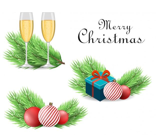 Realistische kerstboomtak en accessoires