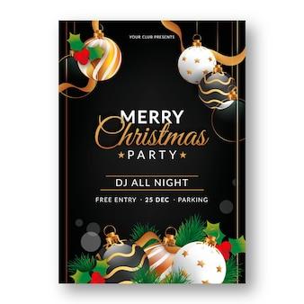 Realistische kerstfeest folder sjabloon met foto