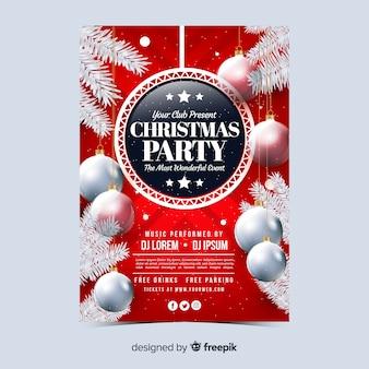 Realistische kerstfeest poster sjabloon