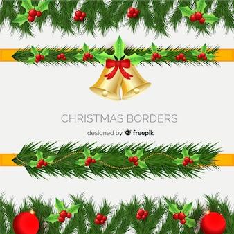 Realistische kerstframe-collectie