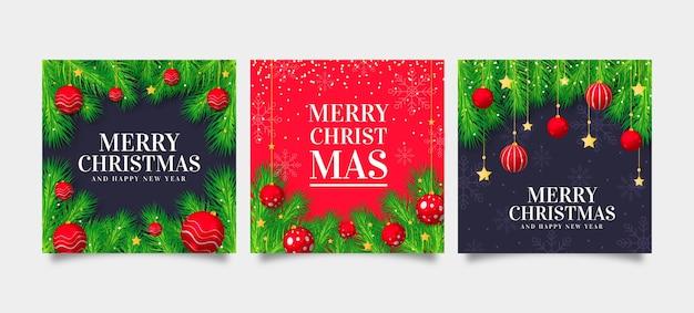 Realistische kerstkaarten collectie