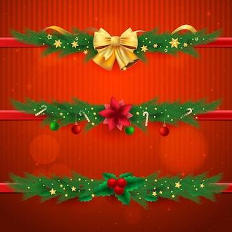 Realistische kerstkaders en randen