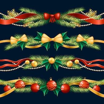 Realistische kerstkaders en randen Gratis Vector
